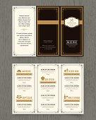 Vintage Restaurant menu design pamphlet vector template in A4 size Tri fold