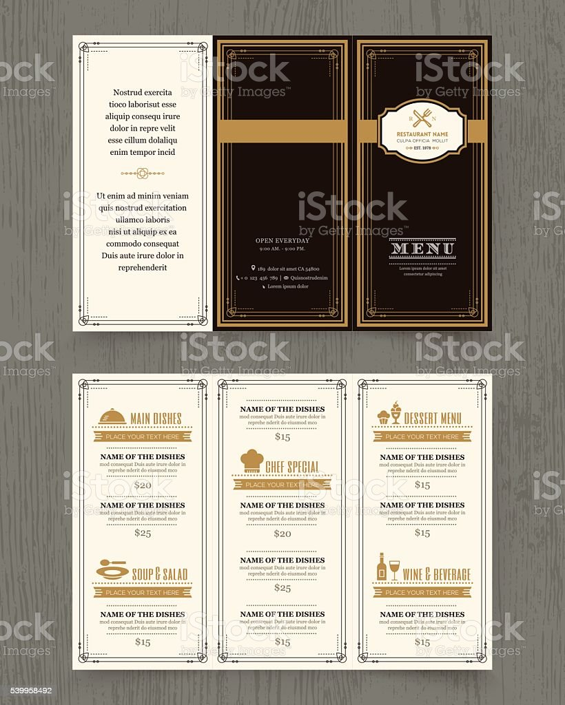 Vintage Restaurant menu design pamphlet template vector art illustration