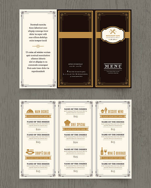 Vintage Restaurant menu design pamphlet template vector art illustration
