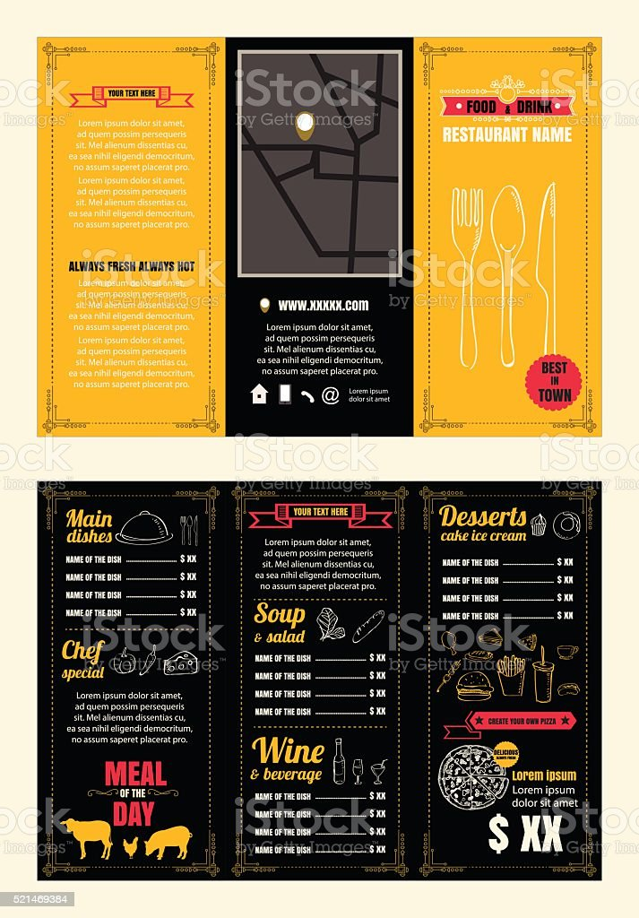 Vintage Restaurant Menu Design Pamphlet Vector Template Chalkboa Royalty Free