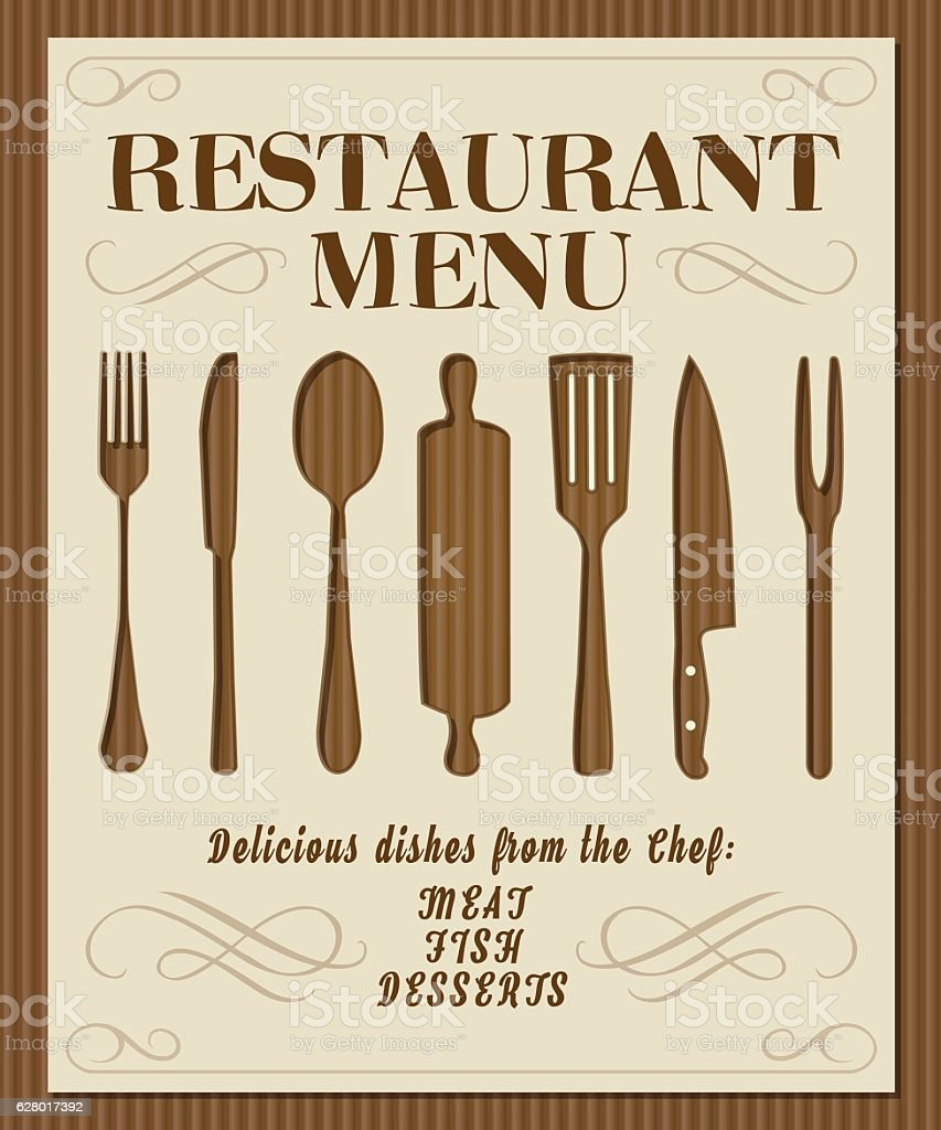 Vintage restaurant menu front page with kitchen tools and for Antique kitchen utensils identification