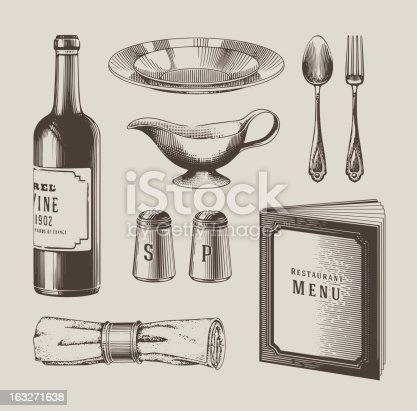 Vintage lithography styled restaurant objects. EPS10 vector illustration.