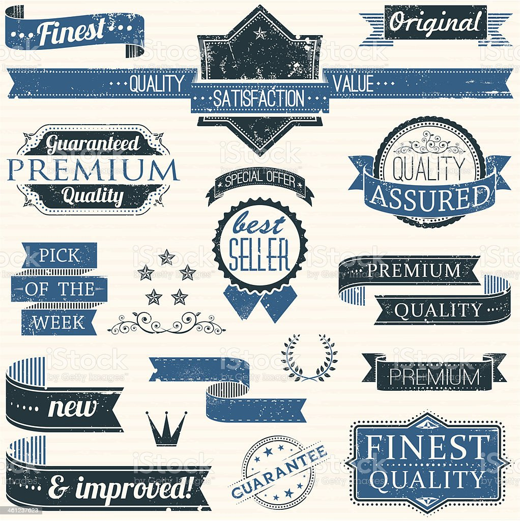 Vintage Retail Frames, Banners and Rubber Stamps vector art illustration