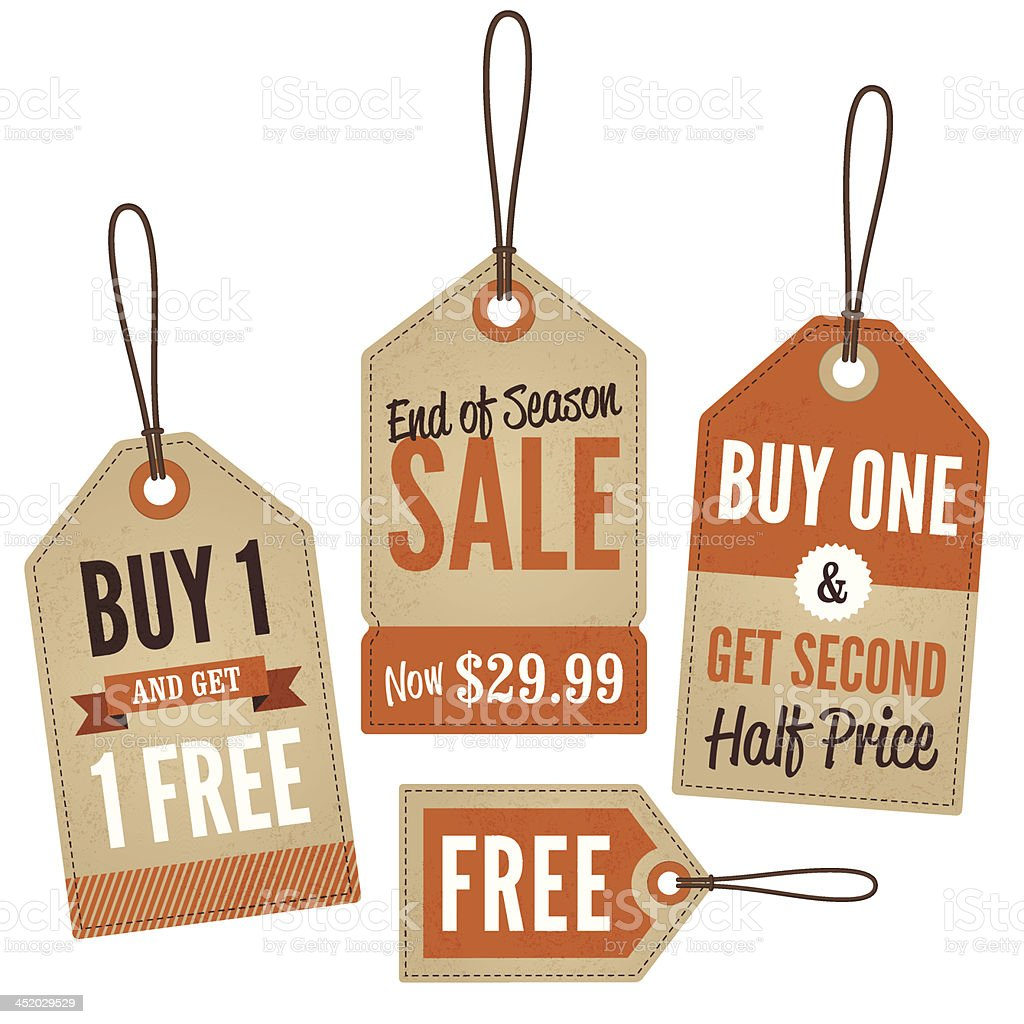 Vintage retail sale tags and labels vector art illustration