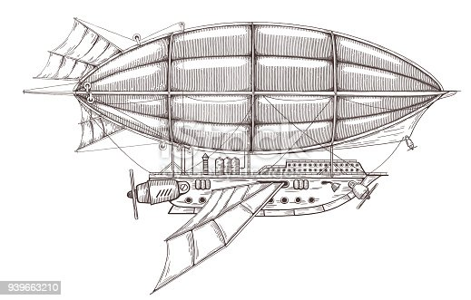 Fantastic airship sketch drawing