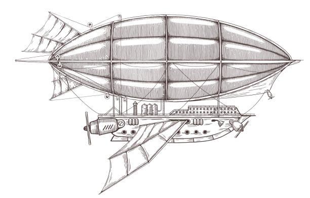 vintage retro-luftschiff im steampunk-stil. - steampunk stock-grafiken, -clipart, -cartoons und -symbole