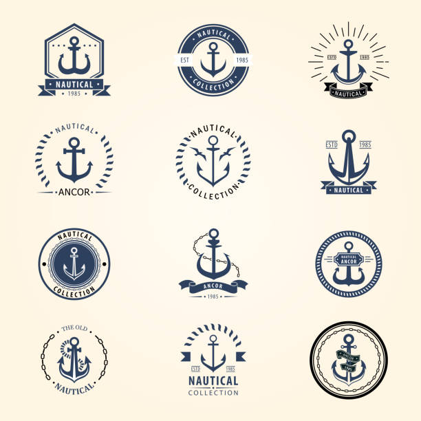 Vintage retro anchor badge vector sign sea ocean graphic element nautical naval symbol illustration vector art illustration