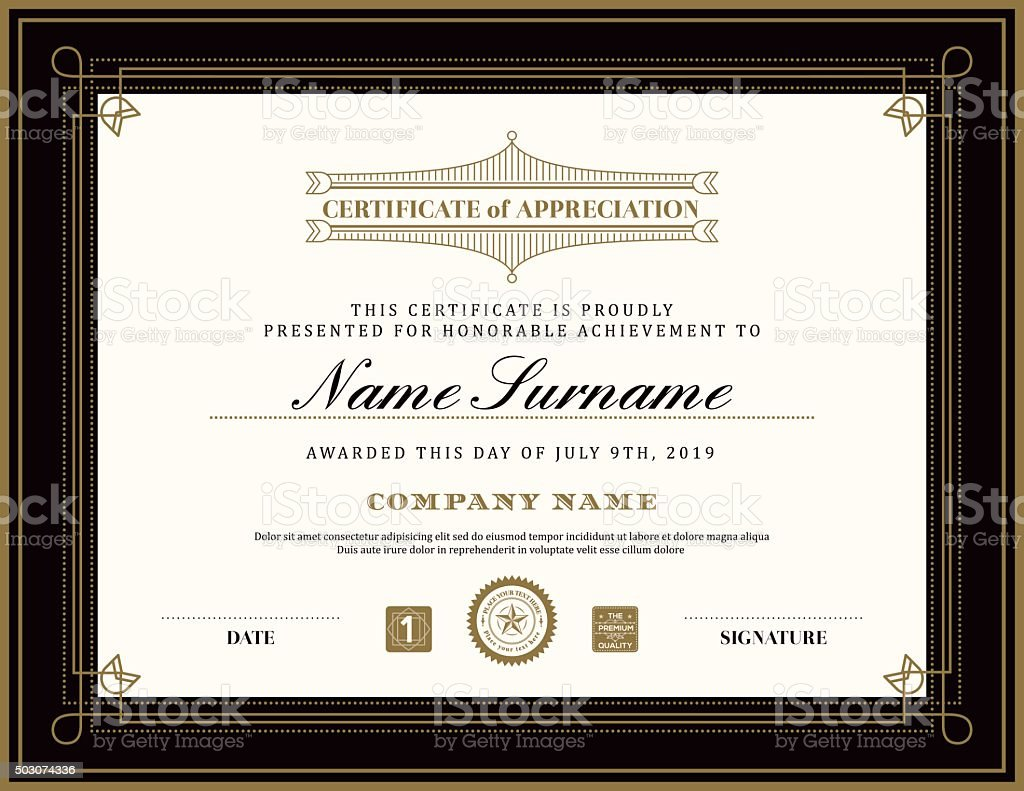 Vintage retro art deco frame certificate background template vector art illustration