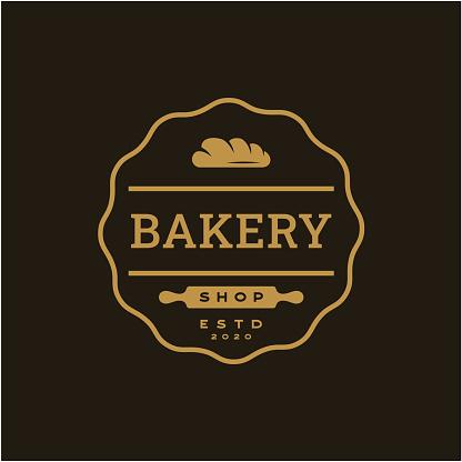 Vintage Retro Bakery, Bake Shop stamp badge Logo design