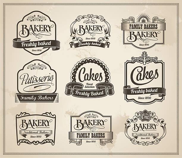 Vintage Retro Bakery Label Banner Set vector art illustration