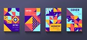 Vintage retro bauhaus design vector covers set. Swiss style colorful geometric compositions for book covers, posters, flyers, magazines, business annual reports