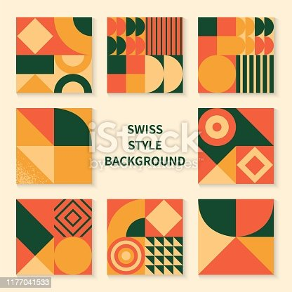 Vintage retro bauhaus design vector covers set. Swiss style colorful geometric compositions for book covers, posters, flyers, magazines, business annual reports, dj and music bands albums