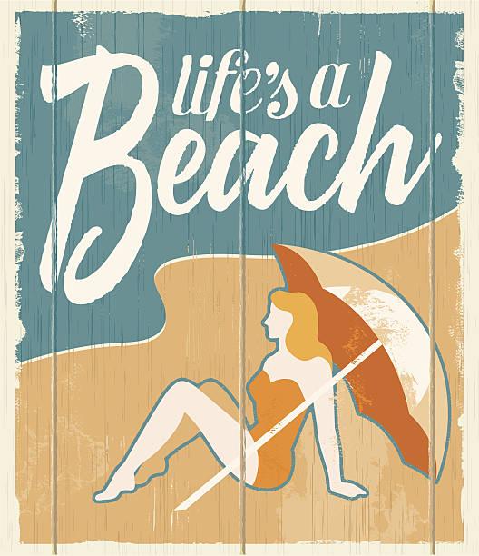 Vintage retro beach poster - vector illustration sign vector art illustration