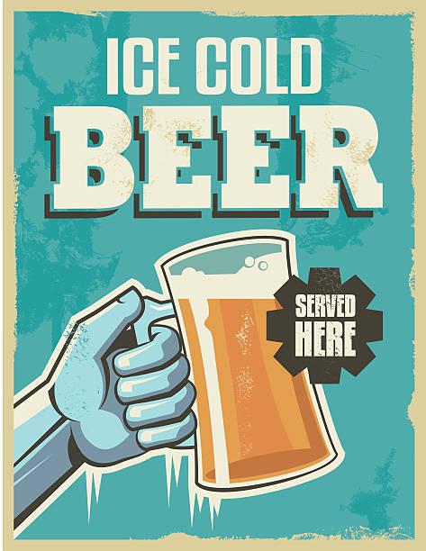 Vintage retro beer poster vector art illustration