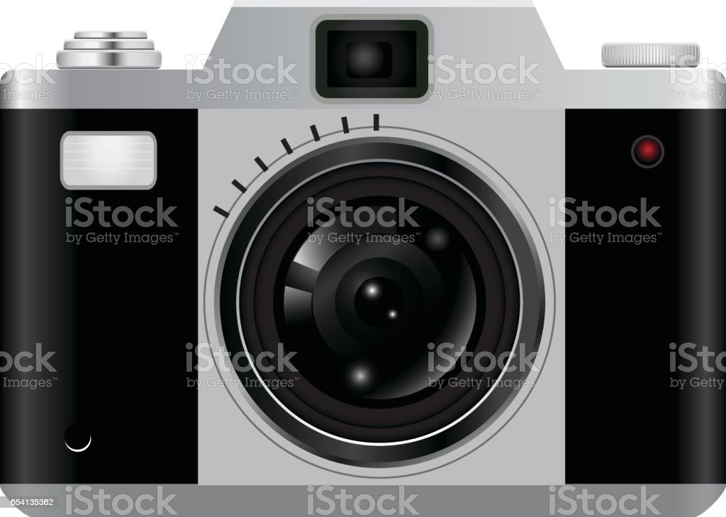 Camera Vintage Vector Free : Vintage retro camera photo icons isolated on white background stock