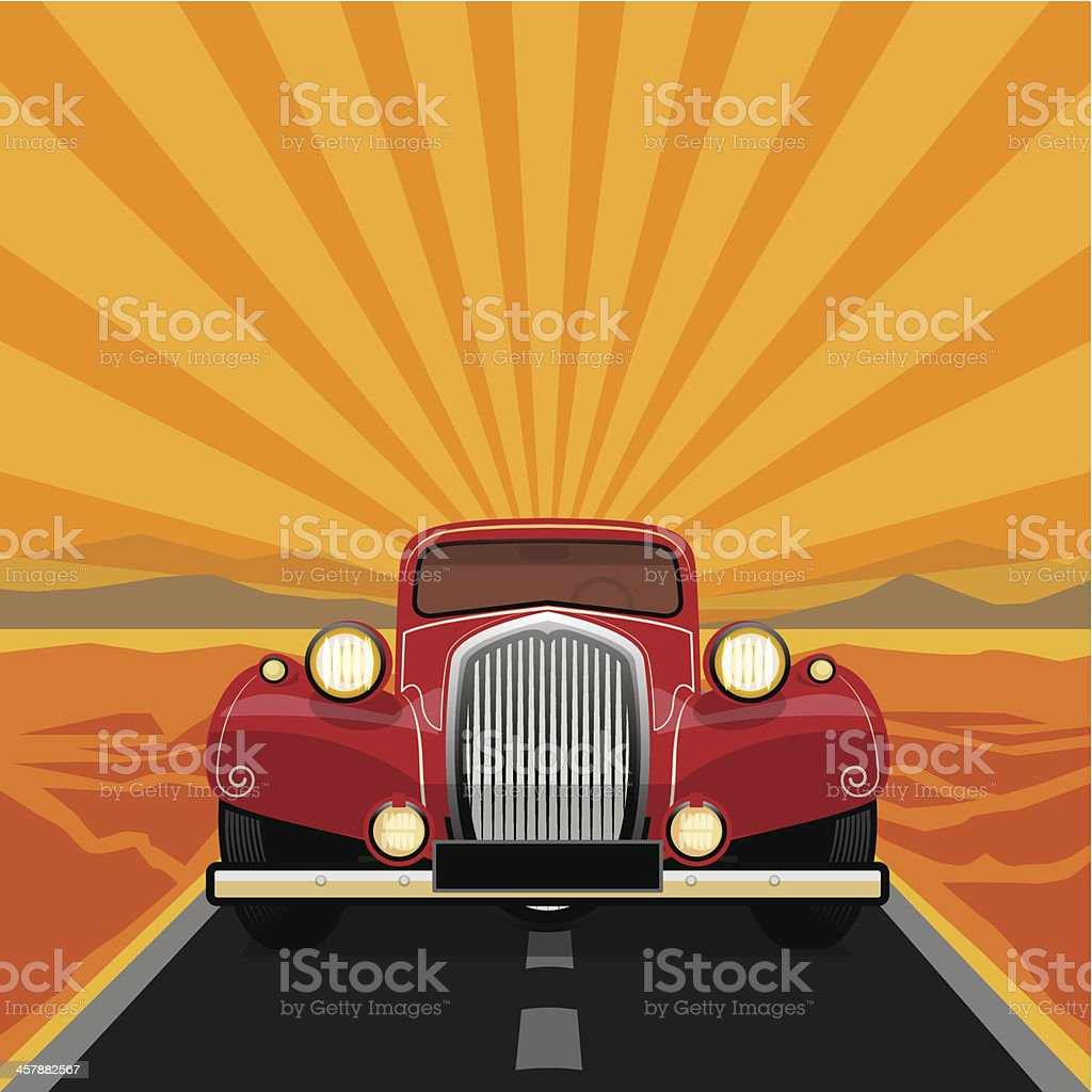 Vintage, retro car vector art illustration
