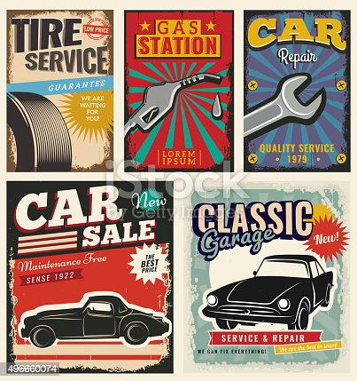 Vintage retro stile. Set of vector cars flyer template. Classic garage, tire service, sale, repair and auto service. You can use it for grange background, banner, label.