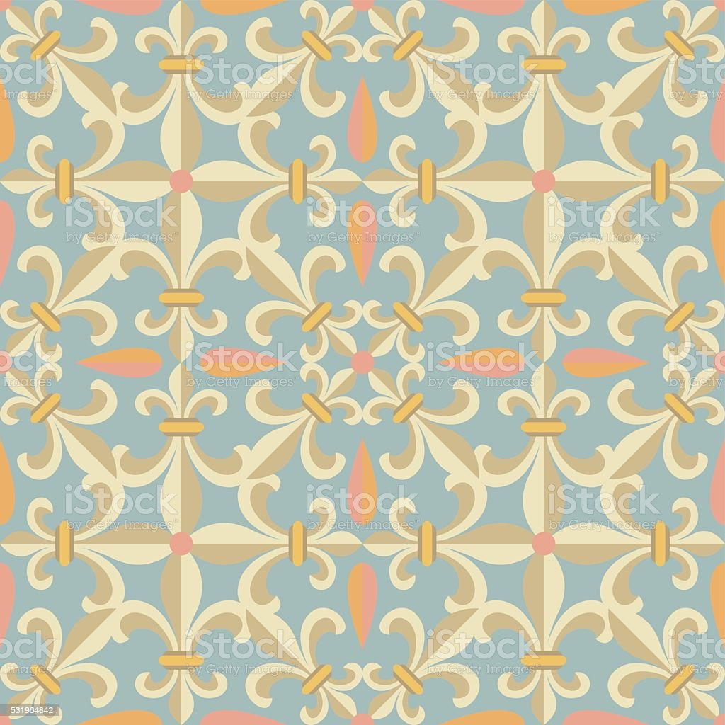 Vintage retro ceramic tile vector art illustration