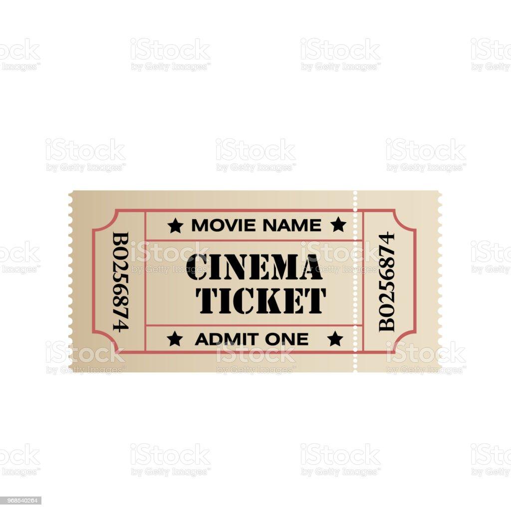 Vintage Retro Bioscoopkaartje Op Witte Achtergrond Vector