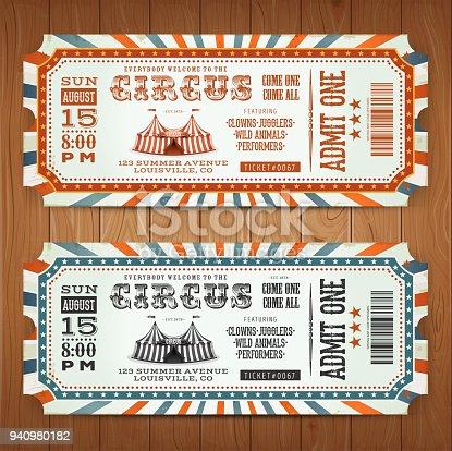 Vintage Retro Circus Tickets