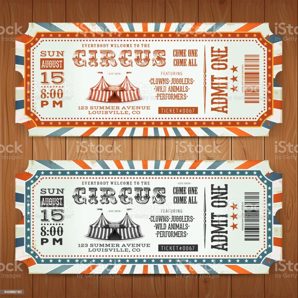 Boletos circo Retro vintage - ilustración de arte vectorial