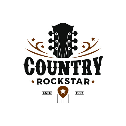 Vintage retro Classic country music, guitar vintage retro logo design
