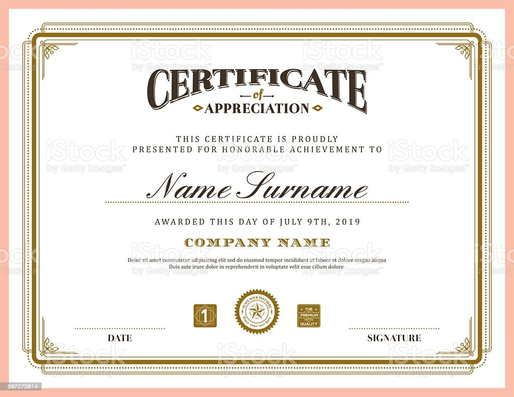 Vintage retro classic frame certificate background template vector art illustration