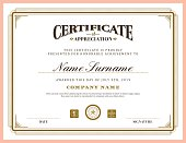 Vintage retro classic frame certificate background template