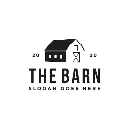Vintage retro classic minimalist old barn farm icon vector template