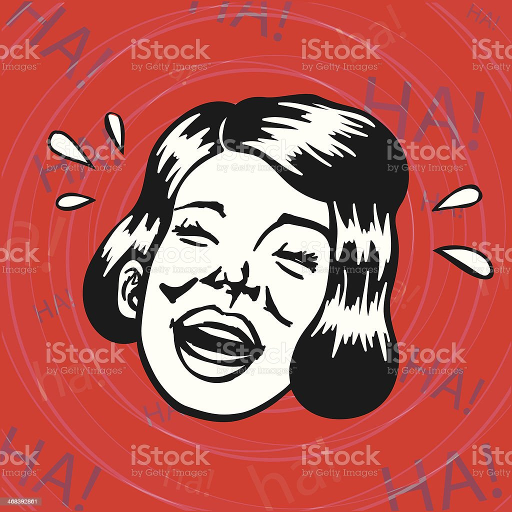 Vintage Retro Clipart: Cheerful Lady having fun and laughing vector art illustration