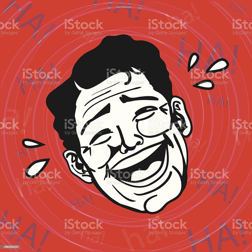 Vintage Retro Clipart: Lol, Man laughing out loud vector art illustration