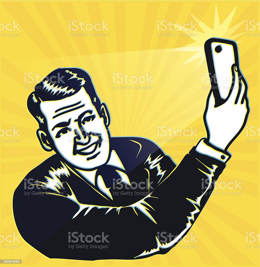 Vintage retro clipart: man takes a selfie with smartphone camera vector art illustration