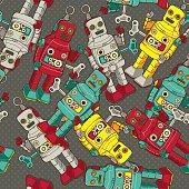 Vintage / Retro colorful Robot seamless pattern, vector illustration