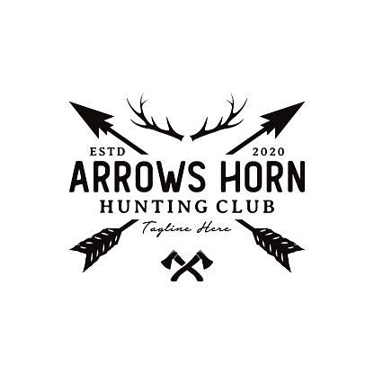 Vintage Rustic Hipster Crossed Arrow with deer antlers and ax logo design inspiration