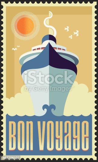 Vintage retro cruise ship. Vector EPS illustration design