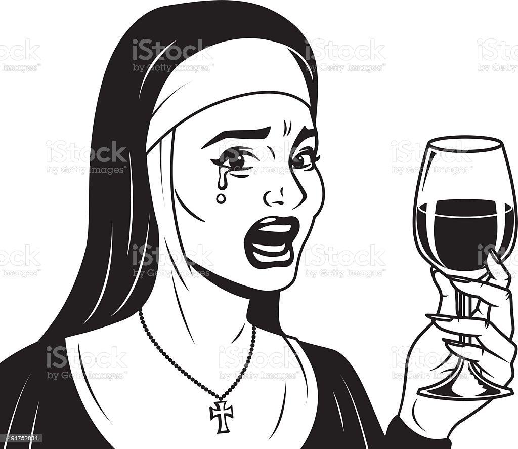 Line Art Icon : Vintage retro crying nun drinking wine line art icon stock