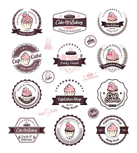 cupcakes Vintage retro Piekarnia odznaki i etykiety – artystyczna grafika wektorowa