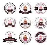 Vintage retro cupcakes bakery badges and labels, vector illustration eps-10