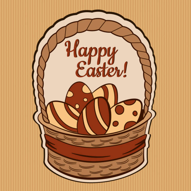 vintage retro easter card in vector - stripped pattern stock illustrations, clip art, cartoons, & icons