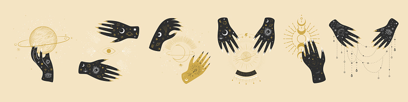 Vintage retro engraving style magic hand. spiritualistic session, witch's palm, cult of space and magic. Vector graphics