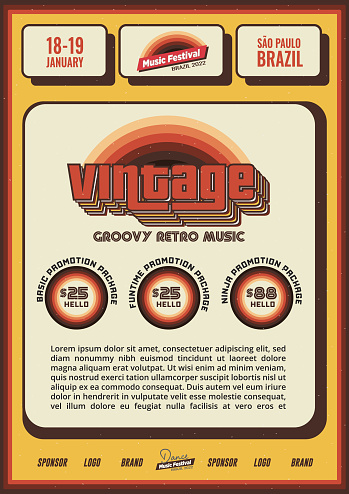 Vintage Retro Flyer in Old School Style for Music Festival or Club Party Lineup Poster Template in Orange Red Yellow Colors