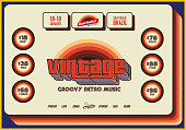Bright orange, red, yellow and brown retro flyer or poster template for music events on blue background.
