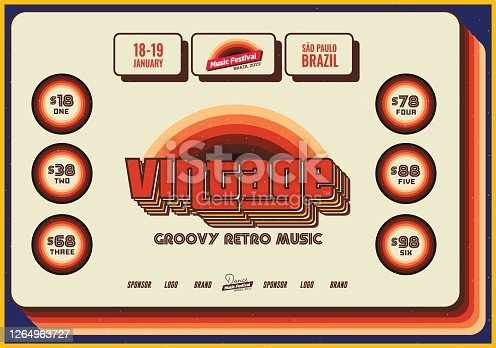istock Vintage Retro Flyer Template for Old Jazz or Blues Music Festival Event Poster Template 1264963727