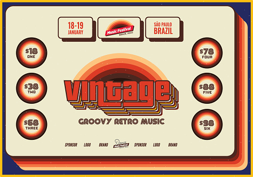 Vintage Retro Flyer Template for Old Jazz or Blues Music Festival Event Poster Template