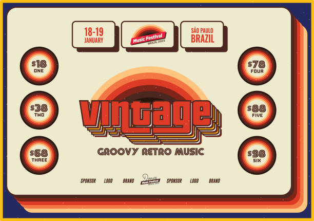 Vintage Retro Flyer Template for Old Jazz or Blues Music Festival Event Poster Template vector art illustration
