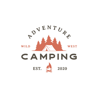 Vintage retro Forest camping logo emblem summer camping vector illustration with tent and pine trees silhouette
