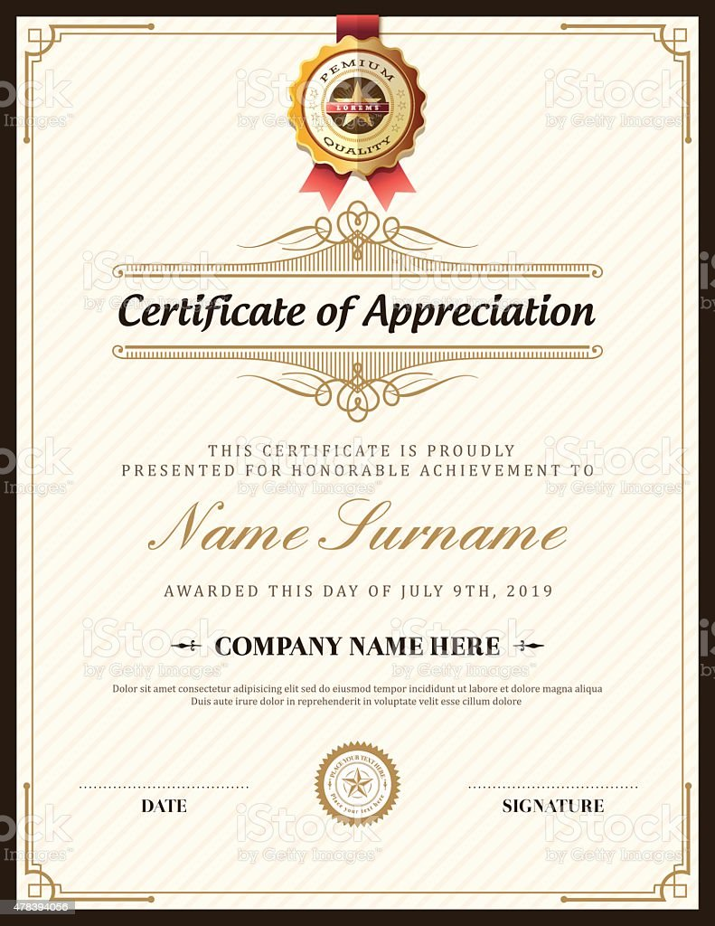 Vintage Retro Frame Certificate Background Template Stock Vector Art ...