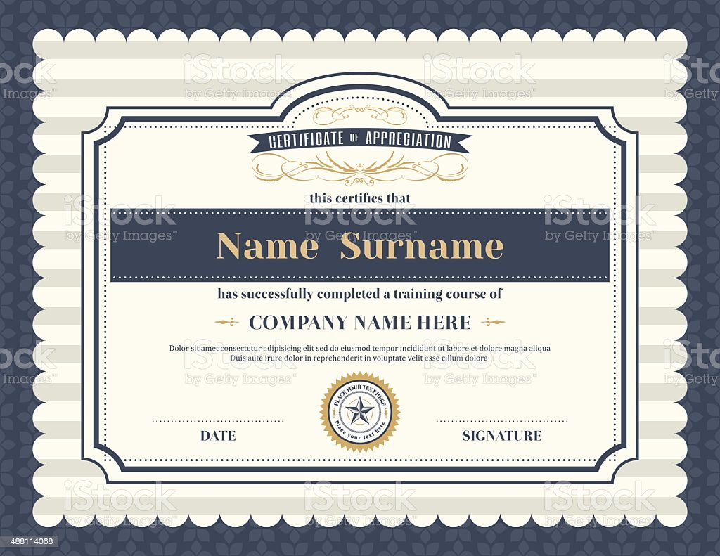 vintage retro frame certificate background template stock vector art