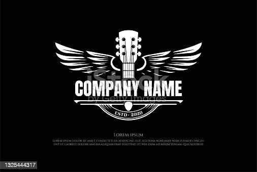 istock Vintage Retro Guitar Wing Wings Music Logo Design Vector 1325444317