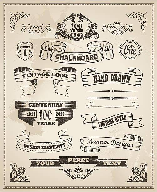 Vintage retro hand drawn banner set vector art illustration